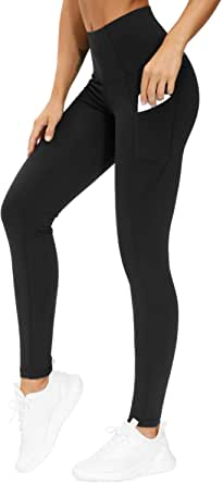 THE GYM PEOPLE Thick High Waist Yoga Pants with Pockets, Tummy Control Workout Running Yoga Leggings for Women