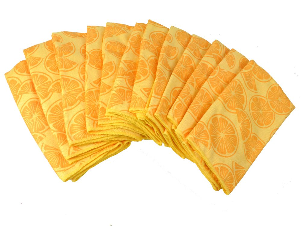 DII Bulk Pack Microfiber Cleaning Towels, 16 by 24-Inch, Lemon, Set of 12