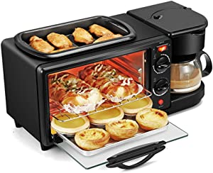 JDH 3 in 1 Breakfast Machine, Multifunction Mini Drip Coffee Maker Bread Pizza Oven Frying pan Toaster, Family Breakfast Making Station, for Home Kitchen