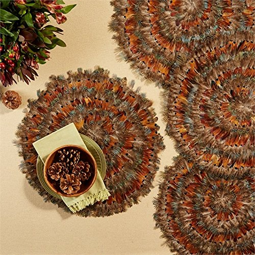 Two's Company Set of 6 Pheasant Park Round Decorative Mats by Two's Company