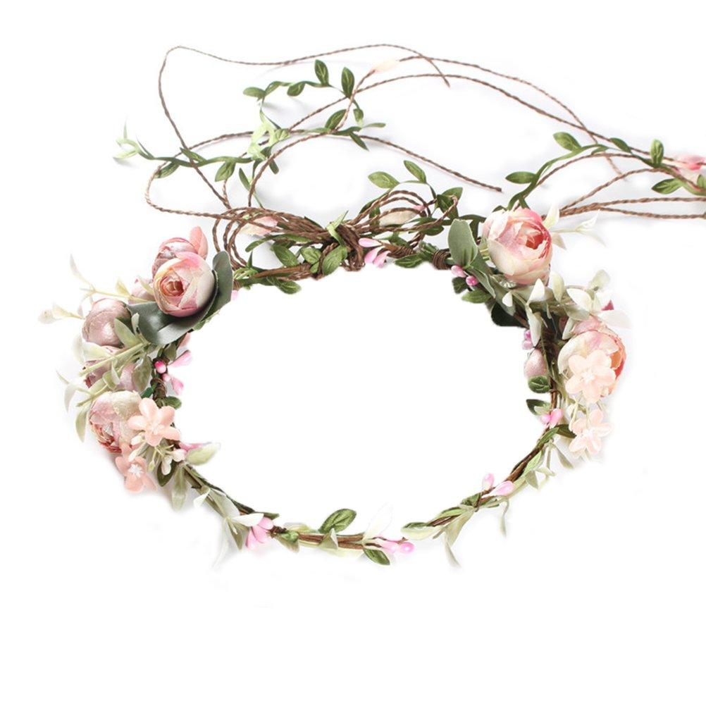 OULII Women Flower Crown Headband Rose Halo Wreath Wedding Bridal Hair Garland KIXE315T1535GK