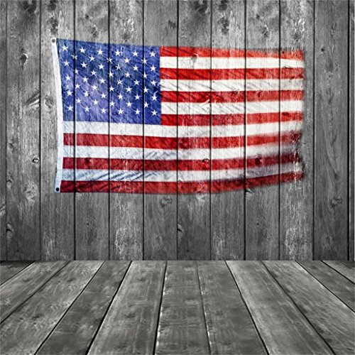 AOFOTO 10x10ft American Flag On Vintage Wooden Board Photography Background Stars And Stripes Backdrop Old Wood Plank Veteran Kid Boy Man Adult Artistic Portrait Patriotic Photo Studio Props -