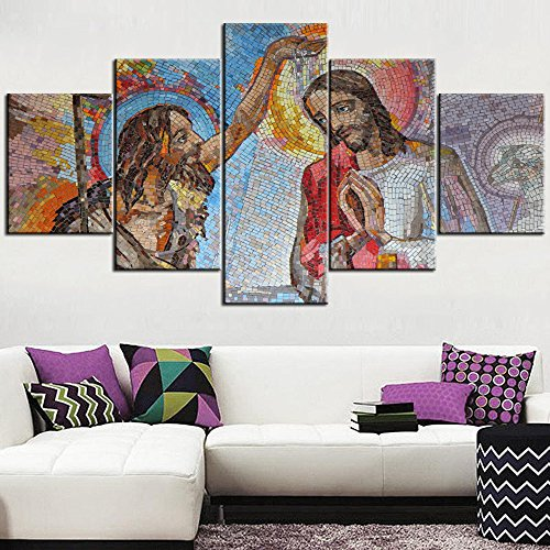 Jesus Christ Pictures for Wall Mosaic of the baptism of Jesus Christ Paintings 5 Panel Canvas Art Catholism Home Decor for Living Room,Modern Artwork Giclee Stretched Ready to Hang(60''Wx32''H)
