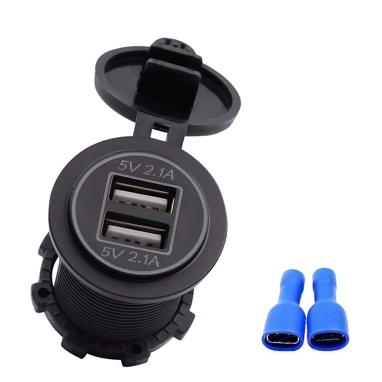 Lorenlli Presa dell'adattatore del Caricatore dell'automobile del Caricatore dell'automobile di Due Porte USB di Doppi 4.2A con Luce Adatta a motocicli 12V-24V Automatici