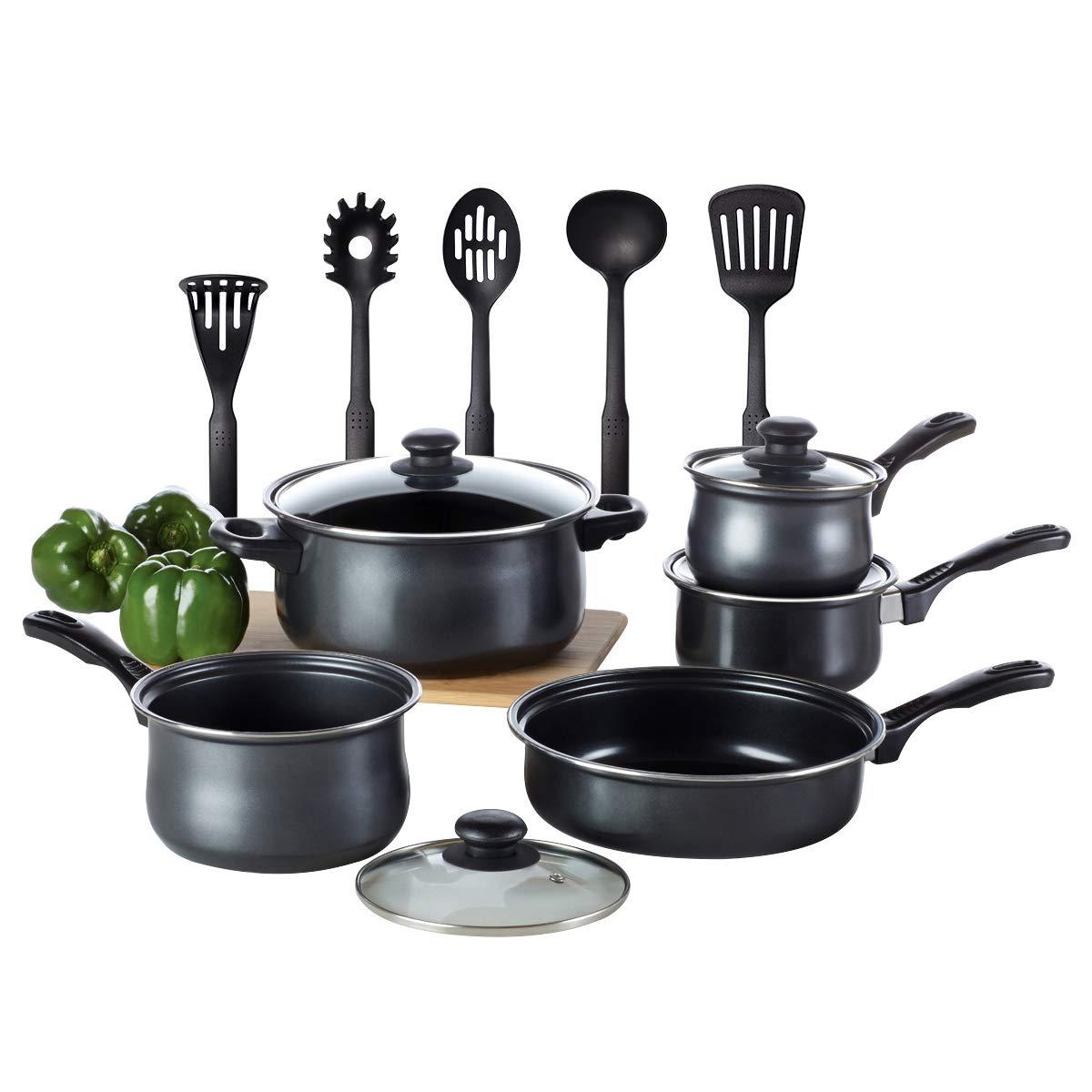 Kitchen Cookware Set, TOPTIER 14 Pieces Nonstick Kitchen Pots & Pans Set [Coating Technology] with 3 Saucepans [Glass Lids] 1 Dutch Oven, 1 Open Skillet and 5 Nonstick Cooking Utensils, Black