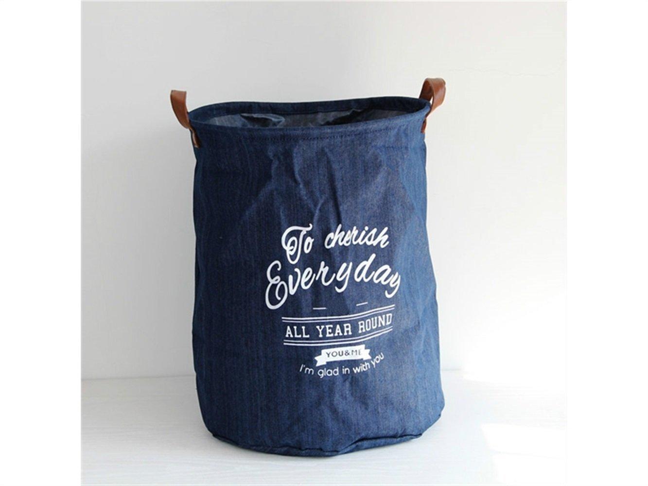 Gelaiken Lightweight Denim Storage Basket Pattern Storage Bag Denim Storage Box Sundries Storage Bucket(Navy Blue)
