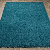 """Sweet Home Stores Cozy Shag Collection Solid Shag Rug Contemporary Living & Bedroom Soft Shaggy Area Rug, 79"""" L x 111"""" W,  Turquoise Blue"""