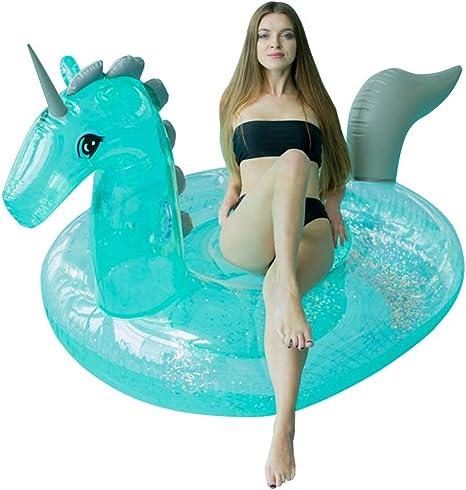 WYJHNL Flotador Unicornio Juguetes Hinchables con Brillos Gigante ...