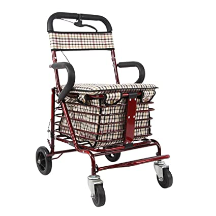 III- Carro de compras para ancianos / Vehículo de recreo / Walker plegable / Andador / Equipo de rehabilitación Caminata plegable Carro de cuatro ...