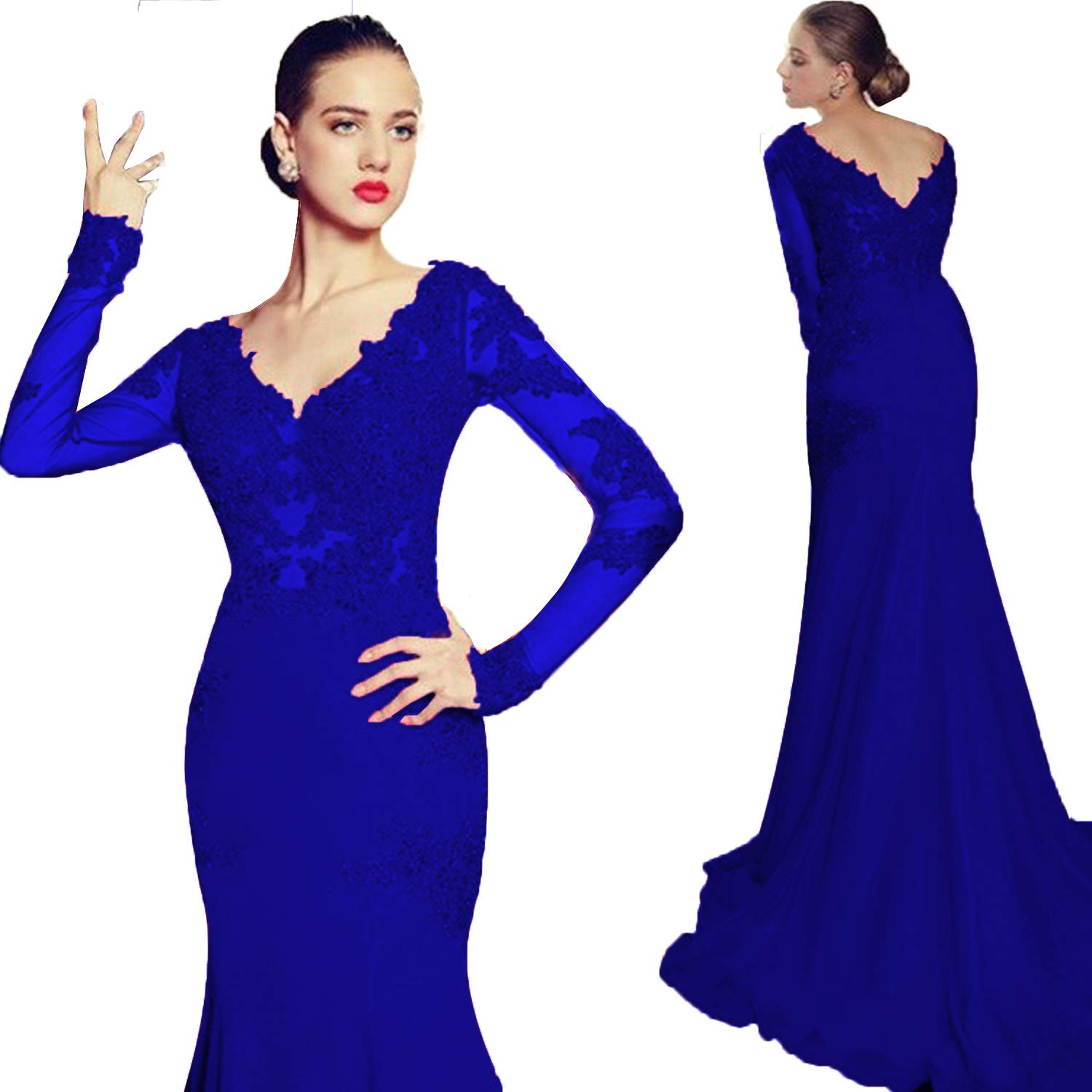 Royal bluee Promworld Women's Double V Neck Lace Applique Mermaid Prom Dress Illusion Formal Evening Gown with Sleeve with Sleeve