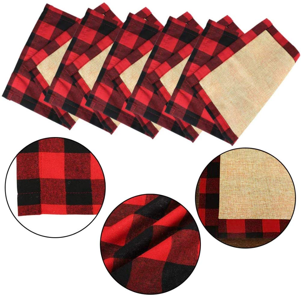 HAKACC 6 PCS Christmas Holiday Placemats Buffalo Plaid Placemats Red Black Reversible Placemats for Christmas Holiday Birthday Party Table Home Decoration