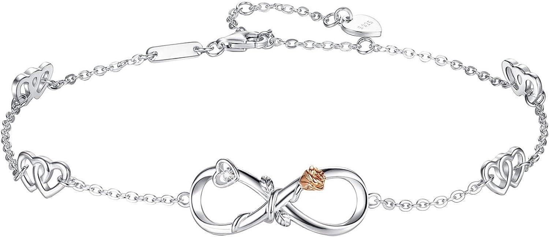 DESIMTION Womens Sterling Silver Infinity Anklet 18K White Gold Plated Adjustable Large Bracelet Gift for Women Girls
