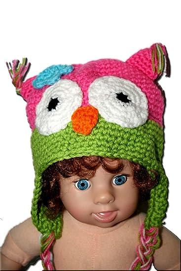 amazon com pink lime green owl baby hat photo prop crochet baby