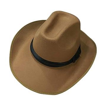 Triamisul Cuerda Ajustable Hombre Mujer Estilo Occidental Gorras de Cachemira Vaquero Vaquera Sombreros Color Puro Verano Sombrero para el Sol Viaje ...