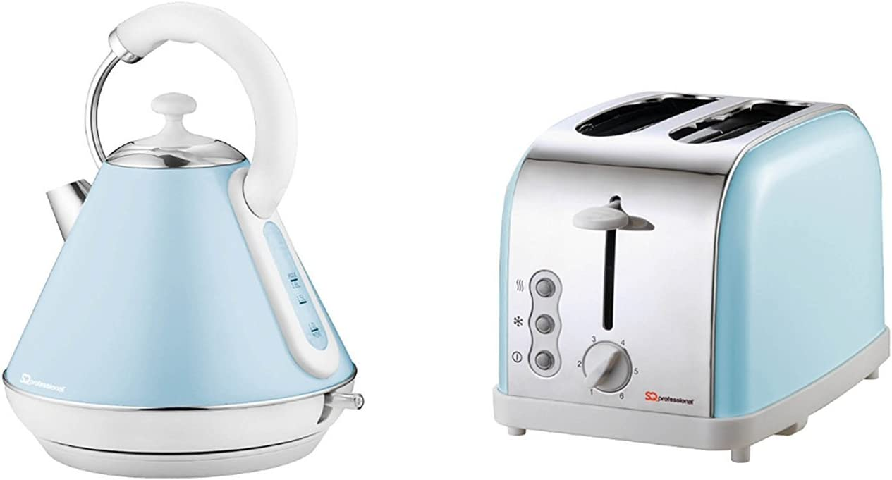 Matching Kitchen Set of Two items: Electric Kettle and Toaster in Light  Blue, Pink or Mint Green (Light Blue)