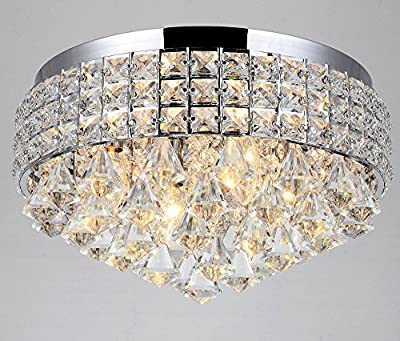 Diamond Life 4-Light Chrome Finish Metal Shade Flushmount Crystal Chandelier Ceiling Fixture
