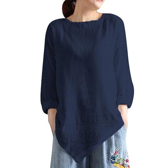 ❤ Blusa de Mujer Vintage, Camisa de Manga Larga de algodón Lino de Verano Casual Top de Camiseta Suelta Absolute: Amazon.es: Ropa y accesorios