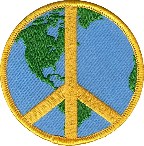 3 Inch Global Peace Sign Iron-On Patch Planet Earth Hippie Accessory Applique (Patches Earth Planet)