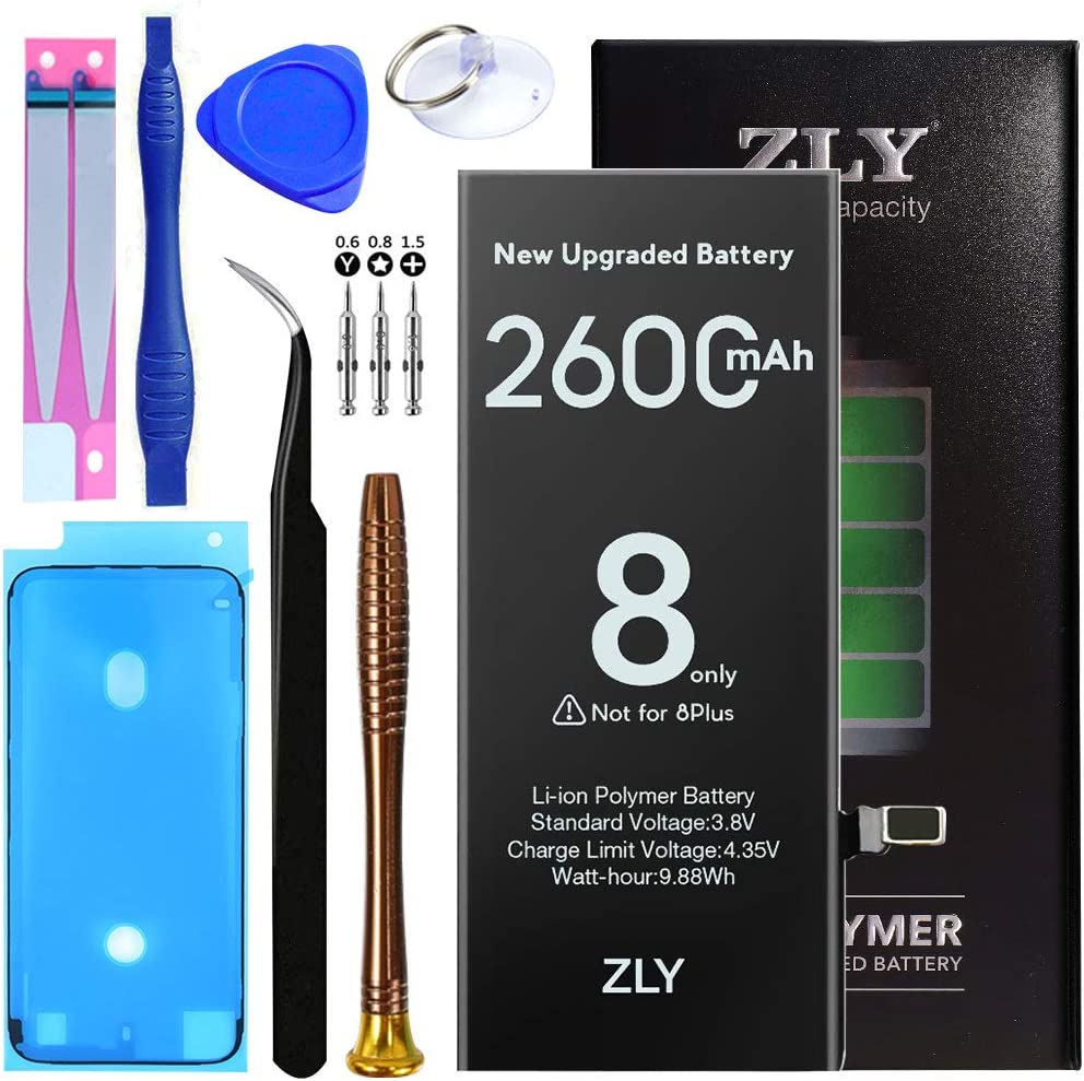 Battery for iPhone 8,Upgraded 2600mAh New 0 Cycle Higher Capacity Battery Replacement for iPhone 8 with Complete Professional Repair Tools Kits-24 Months Service