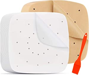 200Pcs Square Air Fryer Liners, Non-Stick Steamer Mat Perforated Unbleached Parchment Paper Air Fryer Liners Uses for Baking Cookies(7.5inch 100pcs white and 100pcs Brown)