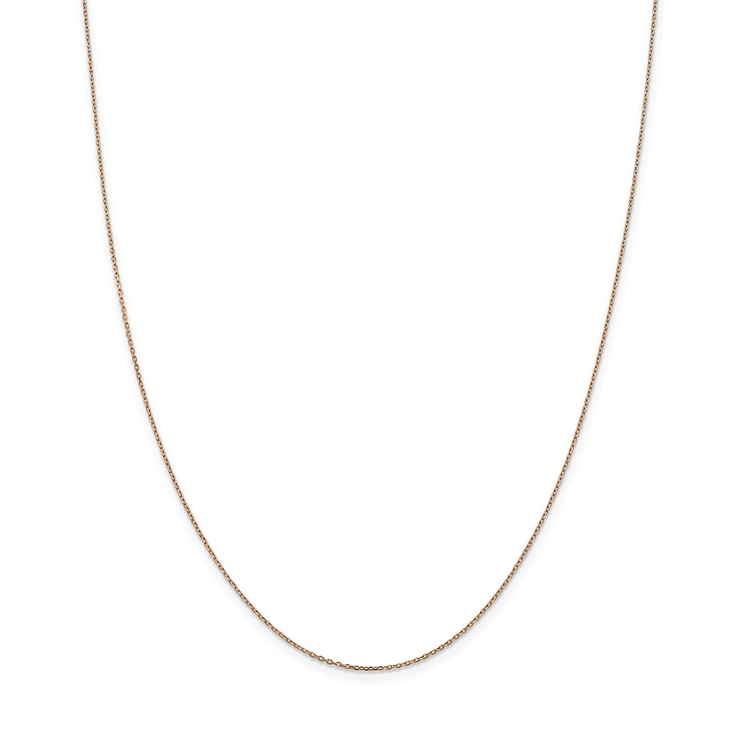 14k Rose Gold 1.0mm Cable Chain Necklace 16inch