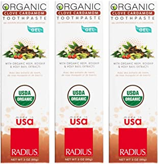 product image for RADIUS USDA Organic Gel Toothpaste - 3 Pack in Clove Cardamom, Non Toxic, Designed to Improve Gum Health and Reduce the Risk of Gum Disease