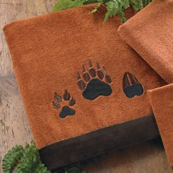 Paw Prints Copper Bear Bath Towel   Rustic Bathroom Accessories
