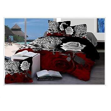 Bettwäsche Set Vier Teiliges Set 3d Baumwolle Weiß Gedruckt Rose