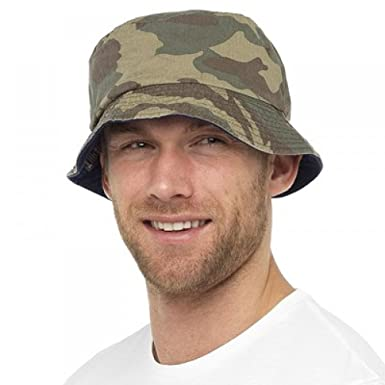 b9f23519 Rjm Mens Reversible Camouflage Bucket Bush Summer Sun Hat: Amazon.co ...
