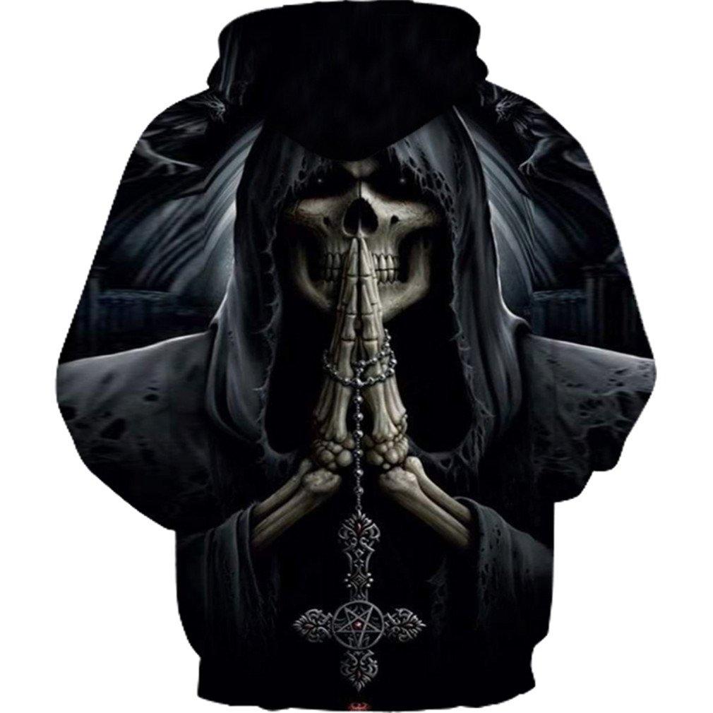ArtistMixWay Unisex Casual 3D Skull Skeleton Printed Athletic Pullover Hoodies Sweatshirts