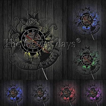 Reloj de Pared Reloj de Registro de Tatuaje de Calavera ...