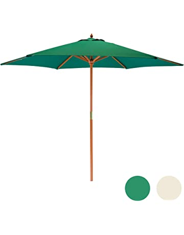 13bbb9b32 Harbour Housewares Sun Parasol Umbrella - Pully Operated, Hardwood,  Polyester Garden Shade - 2.7