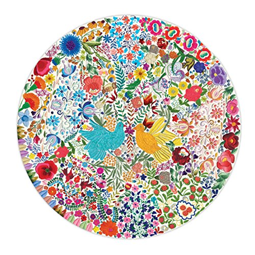 eeBoo Blue Bird Yellow Bird Round Puzzle, 500 Pieces