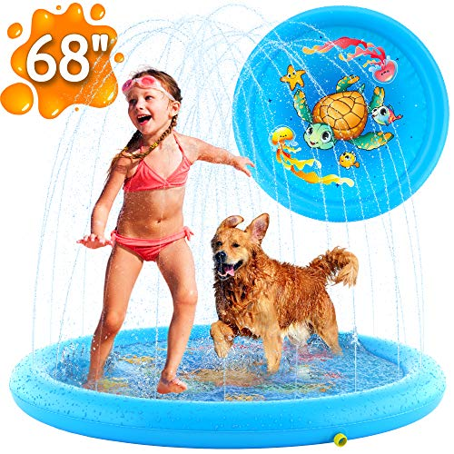 (68″) Inflatable Splash Pad Sprinkler for Kids Toddlers, Kiddie Baby Pool, Outdoor Games Water Mat Toys – Baby Infant Wadin Swimming Pool – Fun Backyard Fountain Play Mat for 1 -12 Year Old Girls Boys