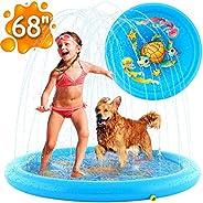 """(68"""") Inflatable Splash Pad Sprinkler for Kids Toddlers, Kiddie Baby Pool, Outdoor Games Water Mat Toys -"""