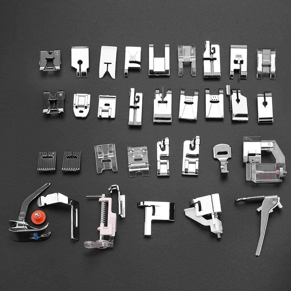 and White Low Shank Sewing Machine Sewing Machine Presser Foot Feet Kit Set,Fits for Brother Toyota 32pcs Kenmore Baby lock Elna Janome Singer New Home Simplicity