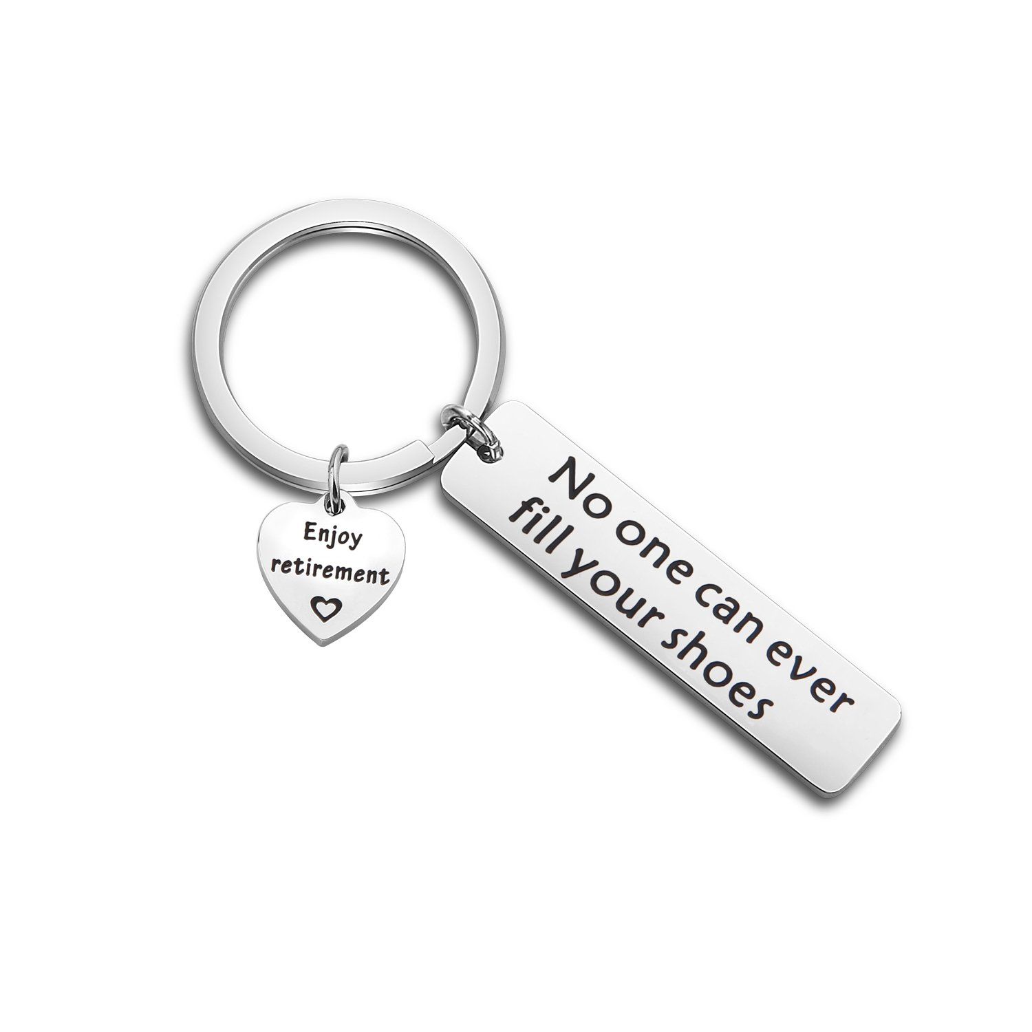 WUSUANED Retirement Keychain No One Can Ever Fill Your Shoes Enjoy Retirement Gift For Coworker Dad (no one fill your shoes keychain)
