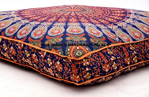 HANDICRAFT-PALACE Indian Floor Cushion Cover Blue Peacock Mandala Tapestry Large Square Floor Pillow Cover Ottoman Pouf Bohemian Meditation Seating Throw