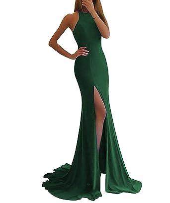 0faef268ab09 JoyVany Women Lycra High Slit Mermaid Prom Dresses Long 2019 Formal Gowns  Dark Green Size 2