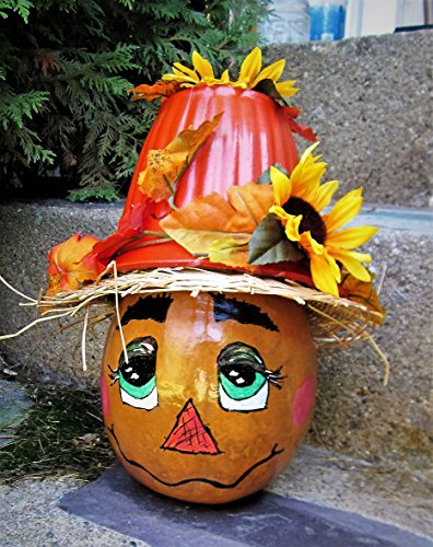 Hand Painted Gourd, Scarecrow, Scarecrow Gourd, Fall Decoration, Scarecrow Fall, Scarecrow Decoration, Gourd, Painted Gourds,Porch Display, Porch (Gourds Painted For Halloween)