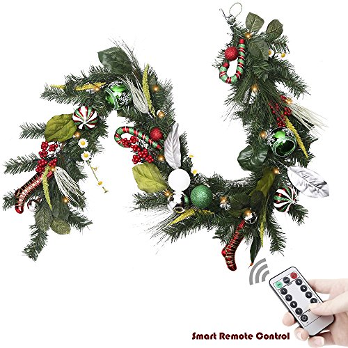 it 72 Inch/6Feet Traditional Red Green Silver and White Christmas Garland with Ball Ornament and Berries, Candy Canes,Boots, Battery Operated 20 LED Lights with Remote Timer (Led Artificial Christmas Garland)