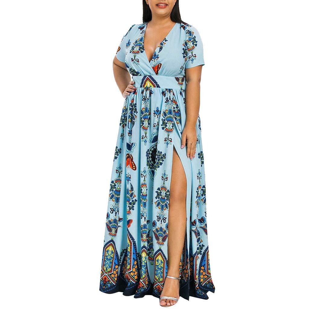 TIFENNY Beach Maxi Dresses for Women Plus Size Fashion Flower Printed V-Neck Short Sleeve Casual Long Dress Tops Blue by TIFENNY