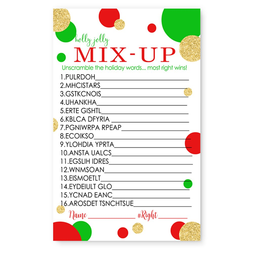 Red and Gold Christmas Word Scramble Party Game Set (25 Pack) by Paper Clever Party (Image #4)