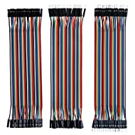 Elegoo EL-CP-004 120pcs Multicolored Dupont Wire 40pin Male to Female, 40pin Male to Male, 40pin Female to Female Breadboard Jumper Wires Ribbon Cables Kit for arduino