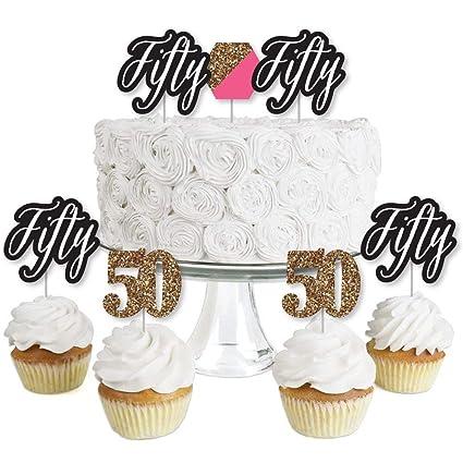 Amazon Com Chic 50th Birthday Pink Black And Gold Dessert