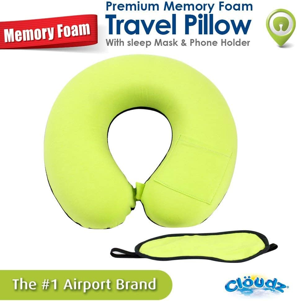 Memory Foam Neck Pillow with Sleep Mask