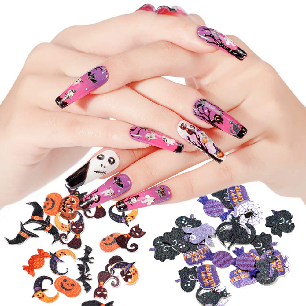 Amazon Com 6 Boxes Halloween Nail Art Glitters Halloween Nail Art Flakes Pumpkin Witch Spider Bat 3d Halloween Acrylic Manicure Sequins Holographic Face Body For Nail Art Tips Decor Beauty