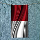 AuraiseHome quick dry towel Flag of INDONESIA Lightweight, High Absorbency w13.8 x H27.5 INCH