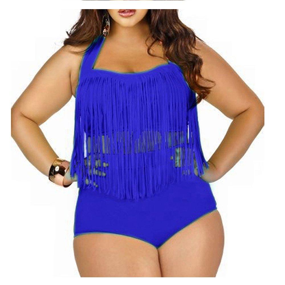 9d94099e774b1 Creabygirls Womens Plus Size Print High Waist Two Piece Tassel Swimsuits (RoyalBlue,XXX-