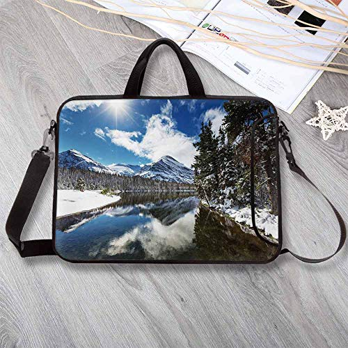 Winter Waterproof Neoprene Laptop Bag,Tranquil View of Glacier National Park in Montana Water Reflection Quiet Peaceful Decorative Laptop Bag for Business Casual or School,12.6
